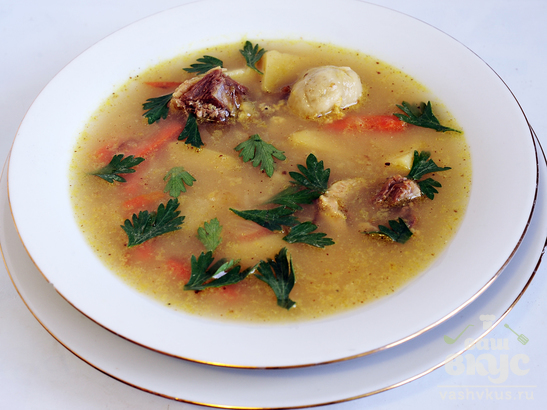 Суп из гуся с кнейдлах