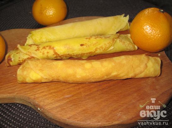 Сладкие блины с творогом и мандарином