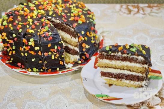 """Бисквитный торт """"День и Ночь"""""""