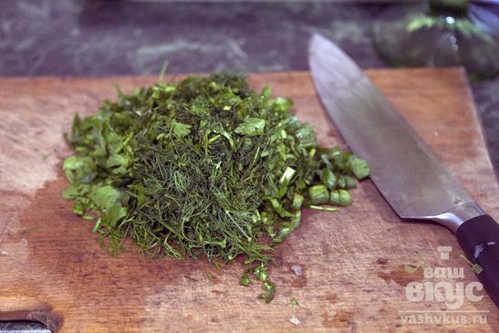 Картофельный зелёный салат с заправкой