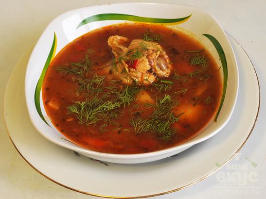 Румынский чесночный суп с курицей