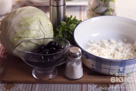 Салат из капусты с творогом