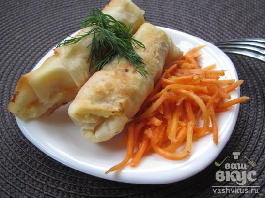 Закуска из лаваша с картофелем и морковью по-корейски