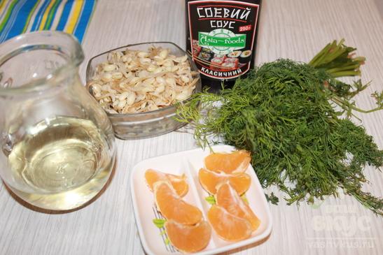 Салат из ростков сои с мандаринами