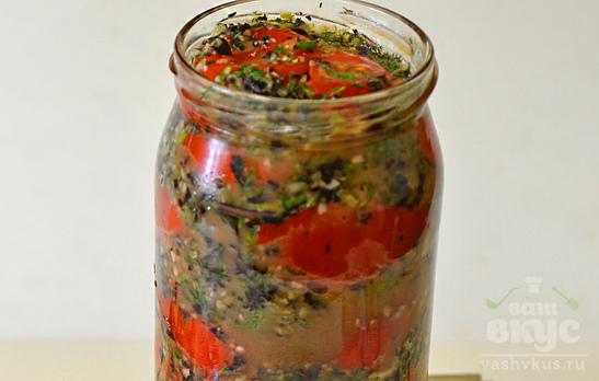 Острые помидоры с чесноком и базиликом