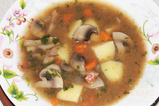 Густой суп из шампиньонов