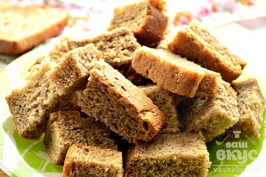 Сухарики из ржаного хлеба с чесноком