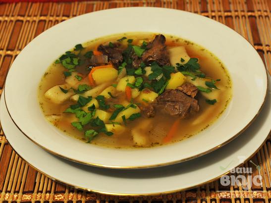 Суп-лапша из оленины по-северному
