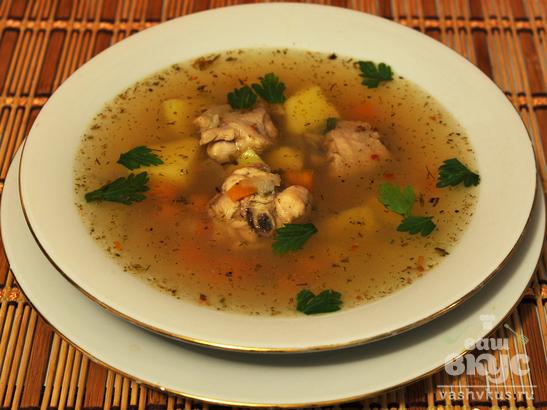 Суп с курицей и рыбой