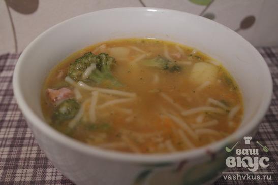 Суп с брокколи и спагетти