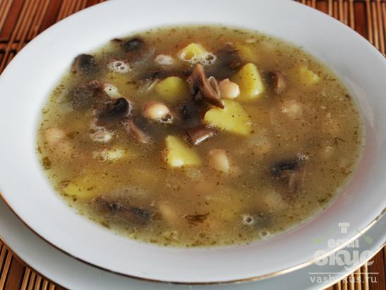 Суп с фасолью и грибами «Белый»