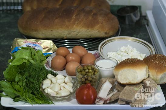 Ассорти бутербродов с яйцом