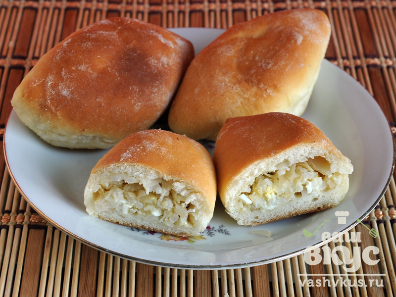пирожки с рисом и яйцом в духовке пошаговый