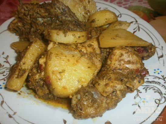 Куриные окорочка и картофель запеченные с кефиром