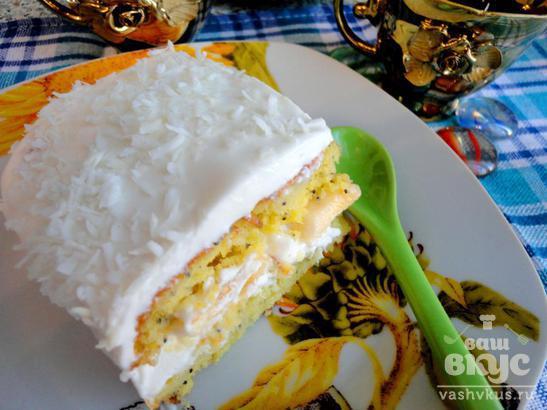 Орехово-маковый бисквит с банановой начинкой