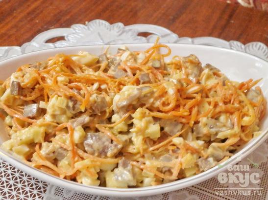 Салат из языка, яблока и корейской морковки