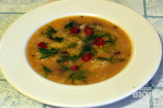 Суп гороховый с рисом и мясом