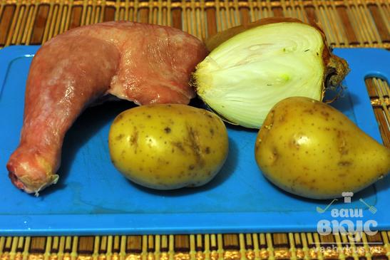 Окорочок жареный с картофелем