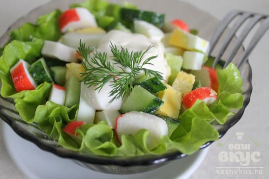Салат из огурца, яйца и крабовых палочек