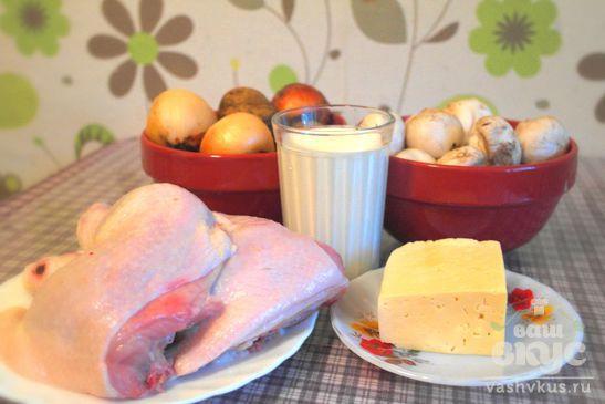 Картофель с курицей и грибами в духовке