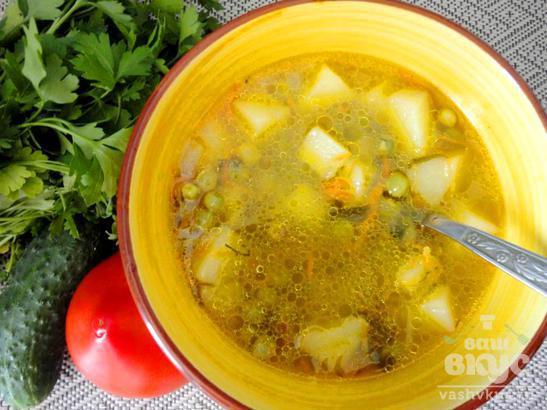 Суп из молодого зеленого горошка