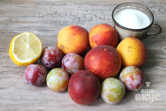 Персиковый компот со сливами