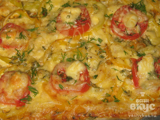 Пицца из слоеного теста с сыром