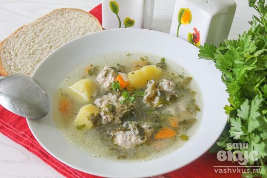 Суп с щавелем и куриными фрикадельками