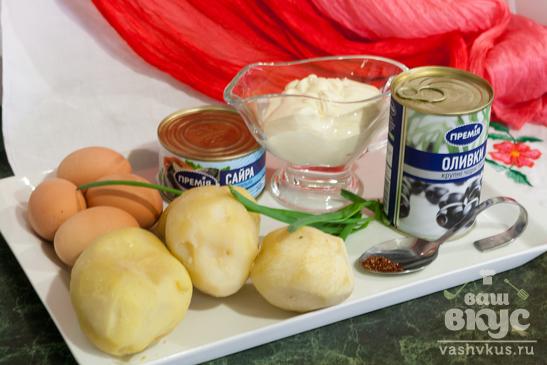 Салат с сайрой и картофелем