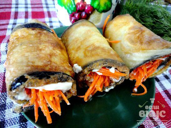 Баклажанные рулетики с морковкой по-корейски