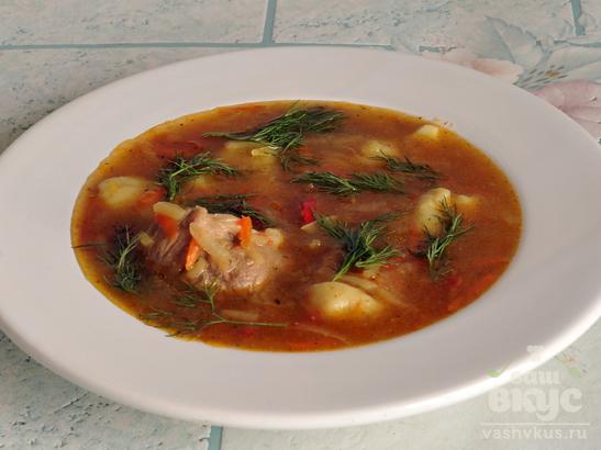 Мясной суп с натертым картофелем