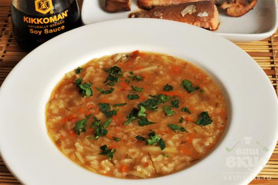 Рисовый рыбный суп с протертым картофелем