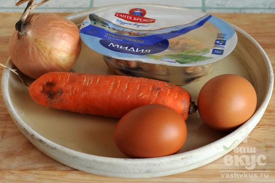 Салат с мидиями «Снежинка»