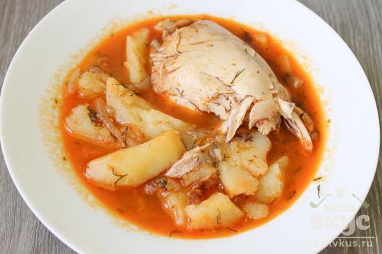 Картофельный соус с куриными окорочками