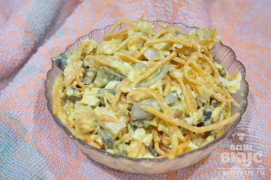 Салат из копченной курицы с грибами и корейской морковкой