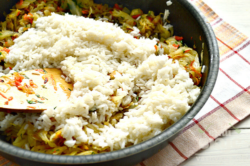 Пирог с рисом и капустой
