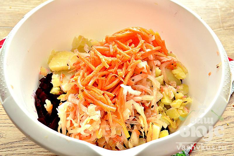 винегрет с корейской морковкой рецепт