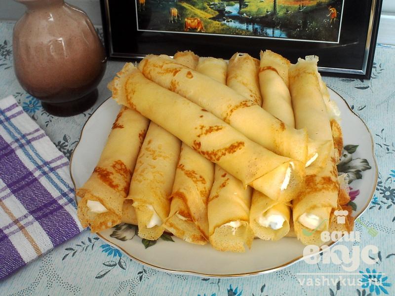 Блины с творогом и фруктами рецепт с пошаговым фото