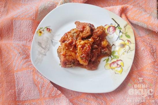 Мясо тушеное в томатном соусе