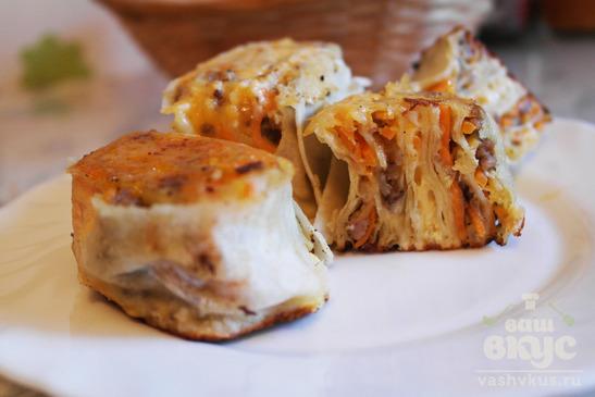 Пирожки с мясом из лаваша на сковороде